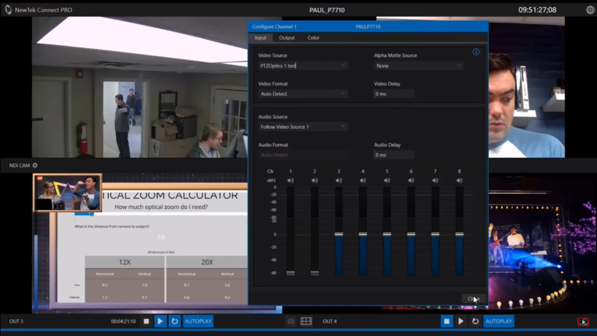 Configuring a PTZOptics camera as a source in NewTek Connect Pro. Click to enlarge.